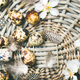 Natural colored quail eggs for Easter with flowers and feathers - PhotoDune Item for Sale