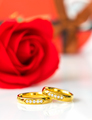 Red roses and gold rings on white_-14 - PhotoDune Item for Sale