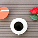 Coffee time with coffee cup and red rose - PhotoDune Item for Sale