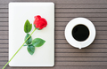 Coffee time with laptop coffee cup and red rose-3 - PhotoDune Item for Sale