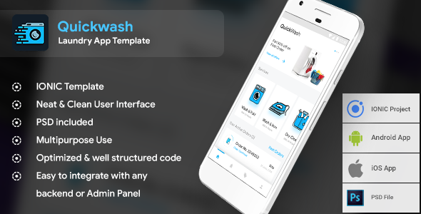 Laundry Android App Ios App Template Quickwash Htmlcss Files Ionic 3