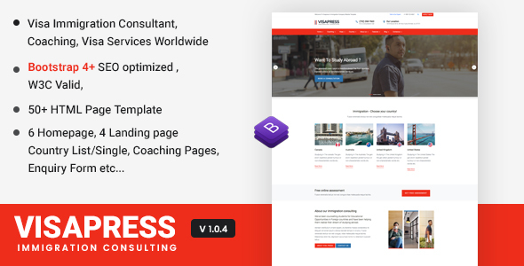 Visapress an Immigration and Visa Consulting Website Template by jitu