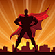 Superhero Silhouette in Red Cape - GraphicRiver Item for Sale