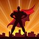 Superhero Silhouette in Red Cape - GraphicRiver Item for Sale