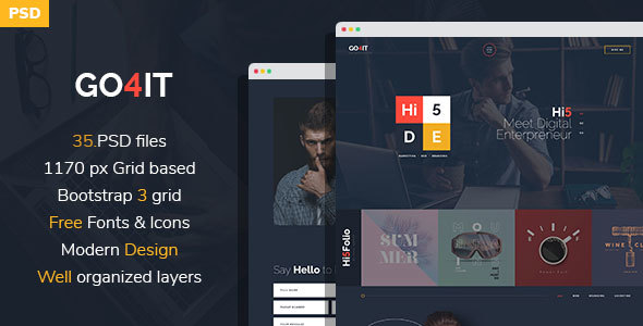 GO4IT - Digital Entrepreneur PSD Template