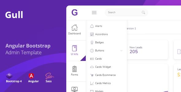 Gull - Angular 7+ Bootstrap 4 Admin Dashboard Template