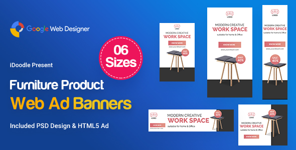 Furniture Product Banners Ad - Google Web Design
