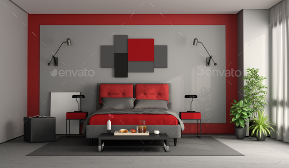 Red and gray modern master bedroom - Stock Photo - Images