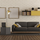 Modern living room with sofa and brick wall - PhotoDune Item for Sale