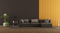Modern living room with sofa and decorative panel - PhotoDune Item for Sale