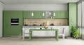 Green and white modern kitchen - 3d rendering - PhotoDune Item for Sale