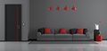 Gray,black and red modern living room - PhotoDune Item for Sale