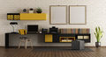 Modern home office with black and yellow furniture - PhotoDune Item for Sale