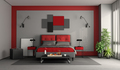 Red and gray modern master bedroom - PhotoDune Item for Sale