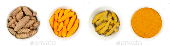 Turmeric rhizomes, whole, peeled, processed and powder over white - Stock Photo - Images