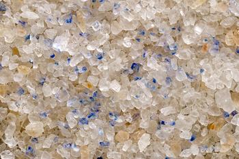 Persian Blue Salt crystals closeup, surface and background
