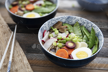 Vegetable and Egg Udon Noodle Soup