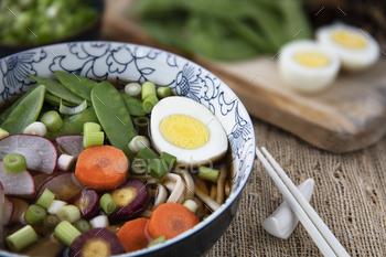 Close-up Udon Noodle Soup