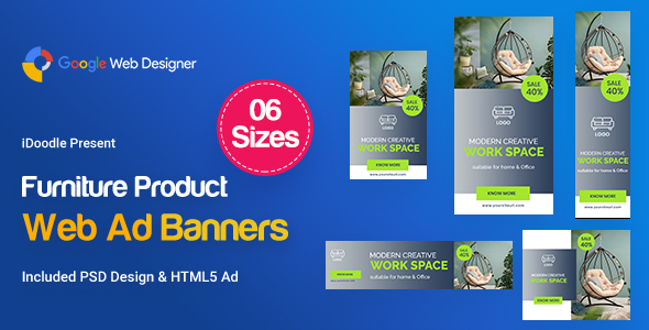 Furniture Product Banners HTML5 D44 Ad - GWD & PSD - CodeCanyon Item for Sale