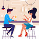 Flat Young Man and Woman on Date with Drink in Bar - GraphicRiver Item for Sale