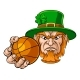 Leprechaun Holding Basketball Sports Mascot - GraphicRiver Item for Sale