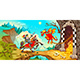 Knight Fighting the Dragon with Treasure in a Mountain Landscape - GraphicRiver Item for Sale