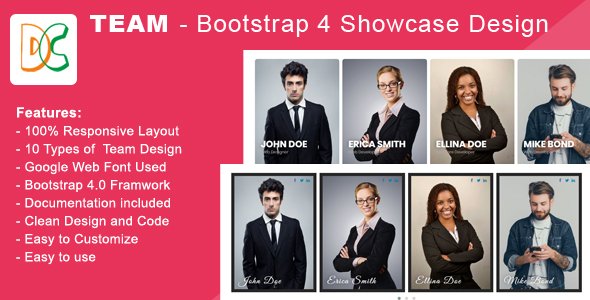 Team - Bootstrap 4 Showcase