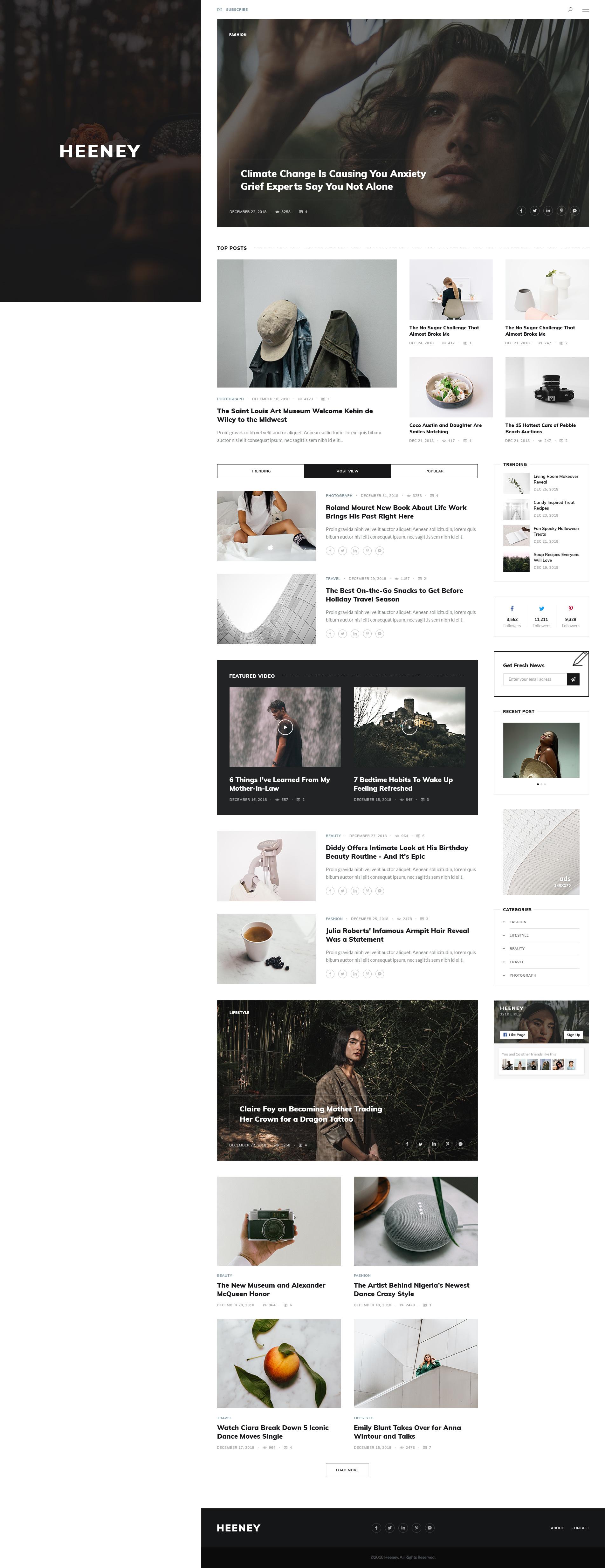 Heeney - Blog PSD Template