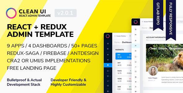 Clean Ui React React Redux Admin Template By Mediatec Software