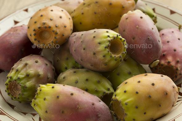 Bowl with fresh ripe cactus fruit - Stock Photo - Images