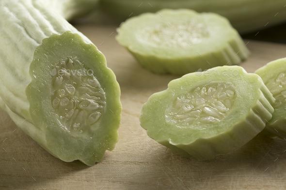 Sliced fresh raw Armenian cucumber - Stock Photo - Images