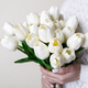 Woman with white tulips - PhotoDune Item for Sale