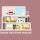 Modern House Cross Section Flat Vector Interiors - GraphicRiver Item for Sale