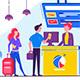Young Man and Woman with Bag Check in Plane - GraphicRiver Item for Sale