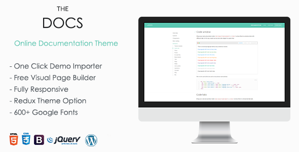 Download TheDocs – Online Documentation WordPress Theme nulled Image Preview