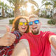 Travel, vacation, summer and holiday concept - Nice couple taking selfie on hotel court - PhotoDune Item for Sale