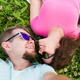 Love, romantic and tenderness concept - Close up selfie of a young and attractive couple laying down - PhotoDune Item for Sale