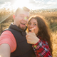 Travel, tourism and nature concept - Smiling couple taking selfie on field and showing thumbs up - PhotoDune Item for Sale