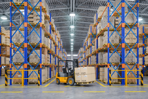 Forklift truck in warehouse or storage and shelves with cardboar - Stock Photo - Images