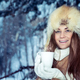 Happy girl with cup of tea in the winter park - PhotoDune Item for Sale