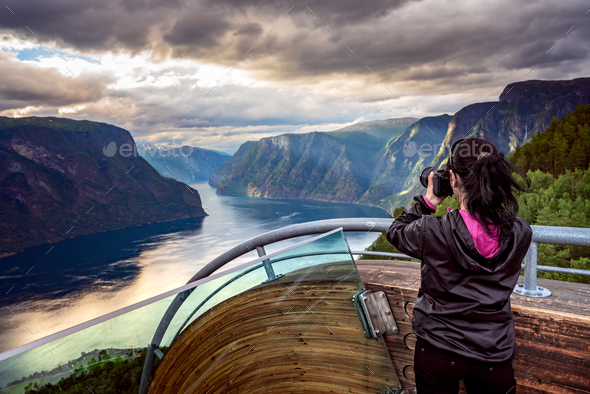Nature photographer. Stegastein Lookout. - Stock Photo - Images