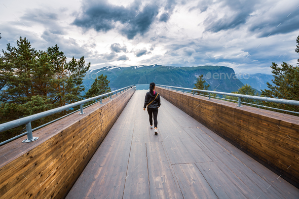 Stegastein Lookout Beautiful Nature Norway observation deck view - Stock Photo - Images