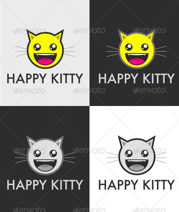 Happy Kitty - Animals Logo Templates