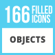 166 Objects Filled Low Poly Icons - GraphicRiver Item for Sale