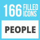 166 People Filled Low Poly Icons - GraphicRiver Item for Sale