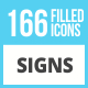 166 Sign Filled Low Poly Icons - GraphicRiver Item for Sale