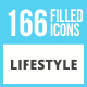 166 Lifestyle Filled Low Poly Icons - GraphicRiver Item for Sale