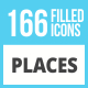 166 Places Filled Low Poly Icons - GraphicRiver Item for Sale