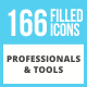 166 Professionals & their tools Filled Low Poly Icons - GraphicRiver Item for Sale