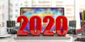 2020. New year, on a laptop, blur office background. 3d illustration - PhotoDune Item for Sale